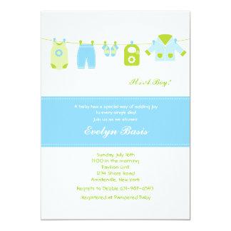 Invitation bleue de baby shower de corde à linge