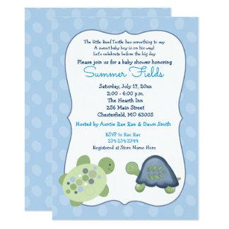 Invitation bleue de baby shower de garçon de point