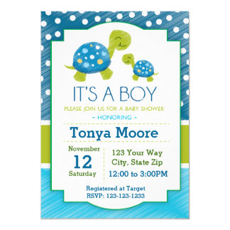 Invitation bleue de baby shower de tortue