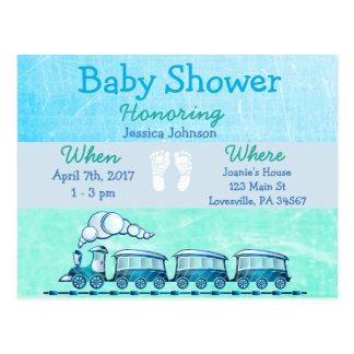 Invitation bleue de baby shower de train de bébé