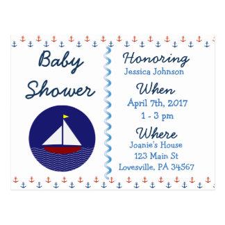 Invitation bleue de baby shower de voilier de bébé