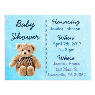 Invitation bleue de baby shower d'ours de nounours