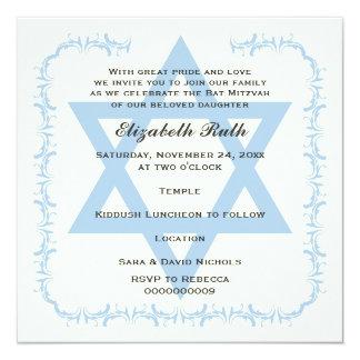 Invitation bleue de bat mitzvah de damassé