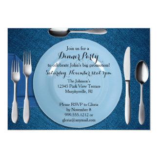 Invitation bleue de dîner