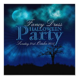 Invitation bleue de minuit de Halloween Nightsky