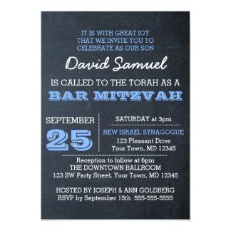 Invitation bleue de Mitzvah de barre de tableau