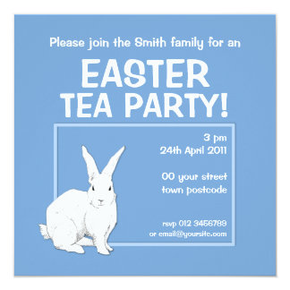 Invitation bleue de Pâques de lapin Carton D'invitation 13,33 Cm
