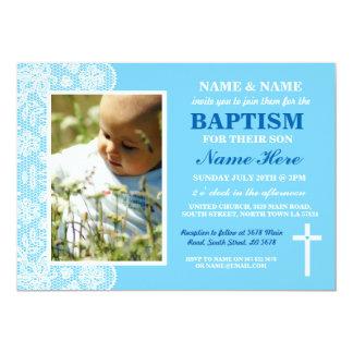 Invitation bleue de photo de garçon de baptême de