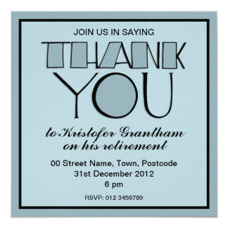 Invitation bleue de retraite de grand Merci