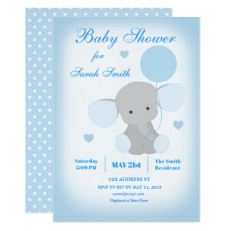 Invitation bleue d'éléphant de baby shower de
