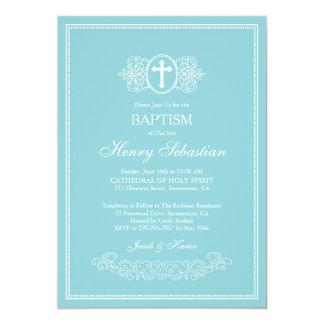 Invitation bleue élégante de baptême
