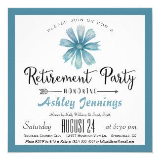 Invitation bleue élégante de partie de retraite