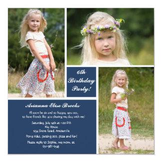 Invitation bleue et blanche de la photo trois