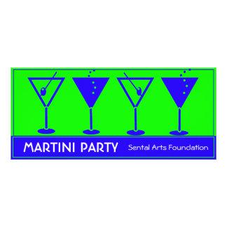 Invitation bleue et verte de partie de Martini Carte Double