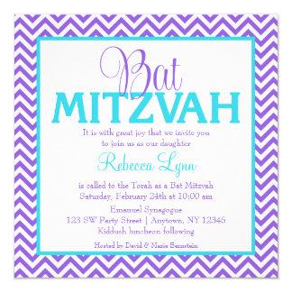 Invitation bleue turquoise pourpre de bat mitzvah