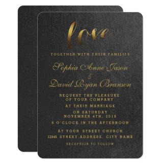 Invitation brillant de mariage de noir d'amour de