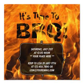 Invitation brûlante chaude de partie d'été de BBQ