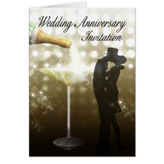 Invitation Champagne d'anniversaire de mariage Carte De Vœux