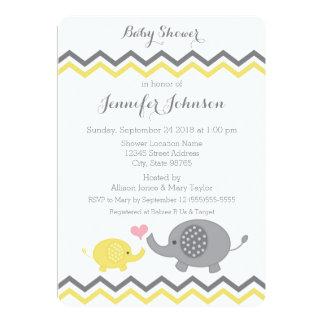 Invitation | Chevron gris jaune de baby shower
