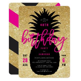 Carte Invitation chic de fête d'anniversaire d'ananas de