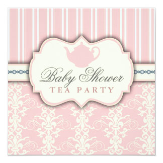 Invitation chic de thé de baby shower de damassé