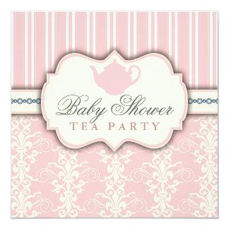 Invitation chic de thé de baby shower de damassé
