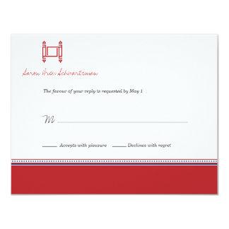Invitation cramoisie de carte- de réponse de