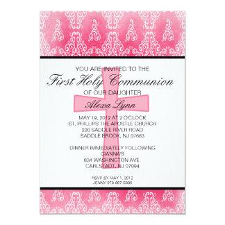 Invitation croisée rose foncée de communion de