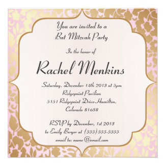 Invitation d or métallique de bat mitzvah de rose