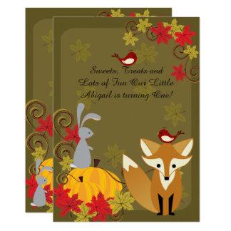 Invitation d'anniversaire d'automne d'animaux de