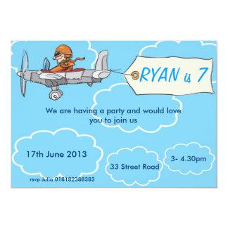 Invitation d'anniversaire d'avion de garçons