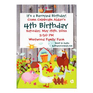 Invitation d'anniversaire de Barnwood d'animaux de