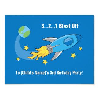 Invitation d'anniversaire de bateau de rétrofusée