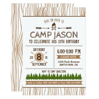 Invitation d'anniversaire de camping