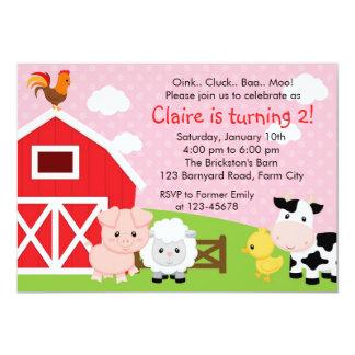 Invitation d'anniversaire de ferme - fille (rose) carton d'invitation  12,7 cm x 17,78 cm