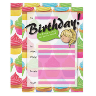 Invitation d'anniversaire de fille de petit gâteau