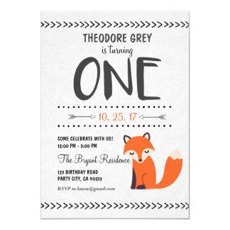 Invitation d'anniversaire de garçon de Fox Chevron