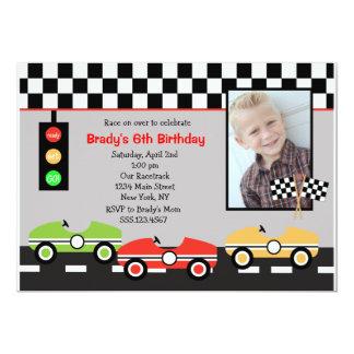 Invitation d'anniversaire de garçons de Racecar