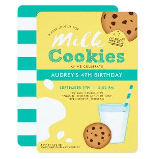 Invitation d'anniversaire de lait et de gâteaux