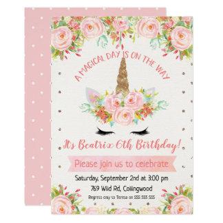 Invitation d'anniversaire de licorne de filles
