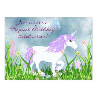 Invitation d'anniversaire de licorne et de