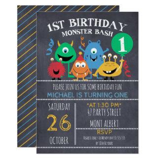Invitation d'anniversaire de monstres de tableau