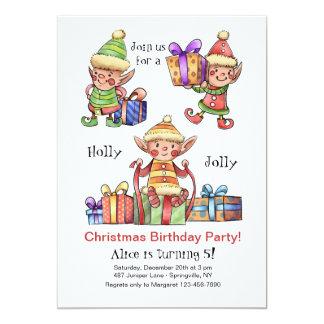 Invitation d'anniversaire de Noël d'elfes