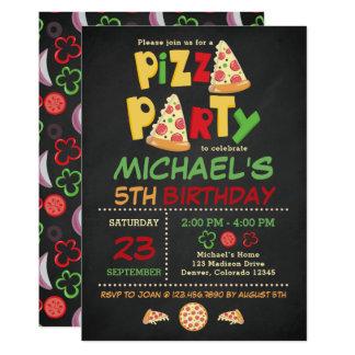 Invitation d'anniversaire de partie de pizza de