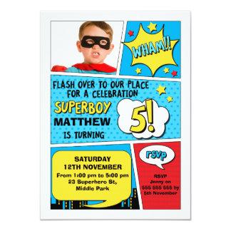 Invitation d'anniversaire de photo de super héros