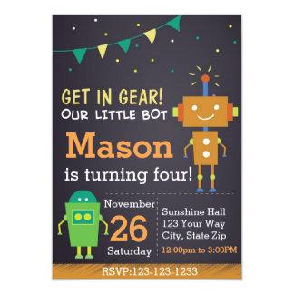 Invitation d'anniversaire de robot (garçon)