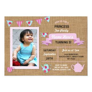 Invitation d'anniversaire de rose de princesse thé