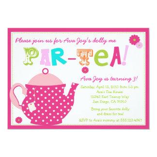 Invitation d'anniversaire de thé pour les filles