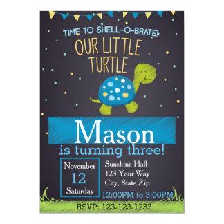 Invitation d'anniversaire de tortue (bleue)