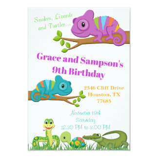 Invitation d'anniversaire de tortue de serpent de